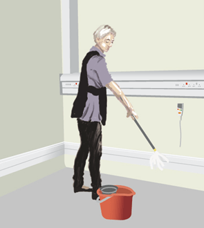 ThermaSkirt is simply mopped free of infection by regular cleaning staff with existing cleaning materials