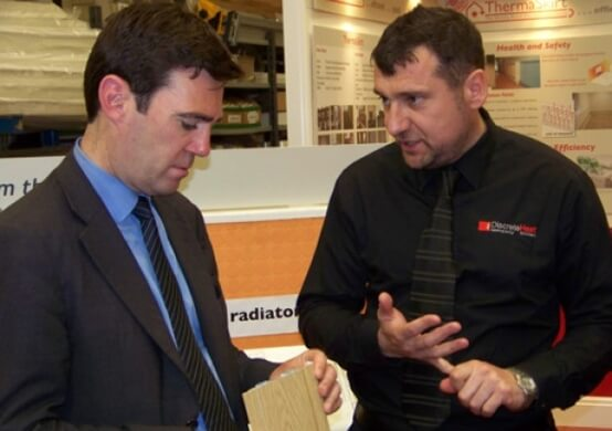 Andy Burnham MP visiting Discrete Heat in Atherton, with managing director Martin Wadsworth