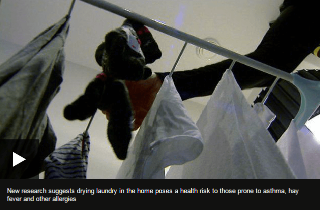 Drying laundry in the home poses a health risk