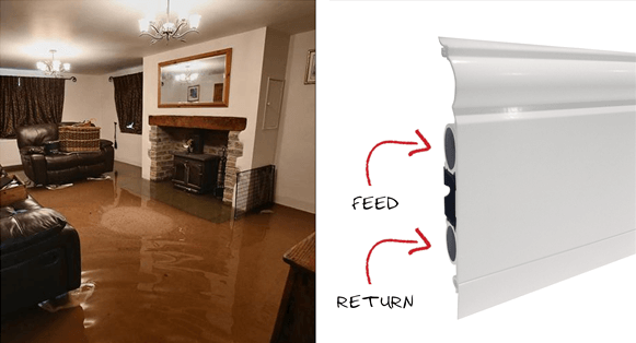Flood proof skirting boards also provide room heating